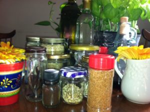 spices and herbs in jars
